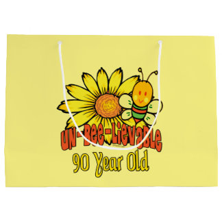 90th Birthday - Unbelievable at 90 Years Old Large Gift Bag