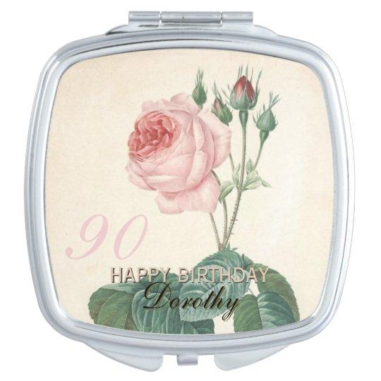 90th Birthday Vintage Rose Personalised Travel Mirrors