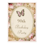 90th Birthday Vintage Roses Butterfly, Music Notes