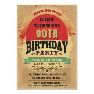 90th Birthday Vintage Typography Grunge Custom Invites