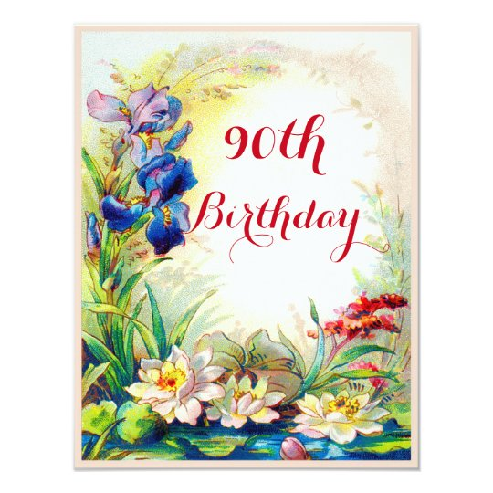 90th Birthday Vintage Waterlilies and Iris Flowers Card