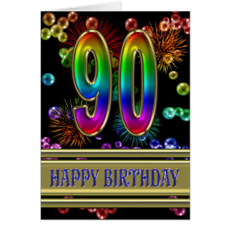 90th Birthday with rainbow bubbles and fireworks Card