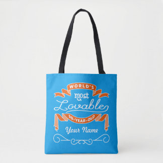 90th Birthday World's Most Lovable 90-Year-Old Tote Bag