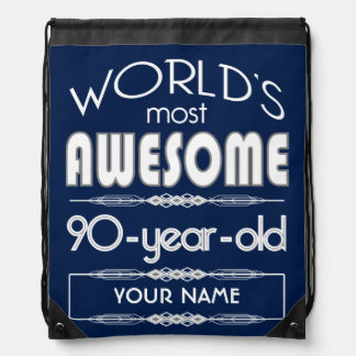 90th Birthday Worlds Best Fabulous Dark Blue Backpacks