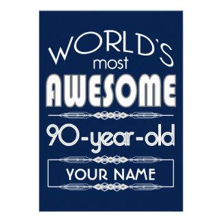 90th Birthday Worlds Best Fabulous Dark Blue Cards