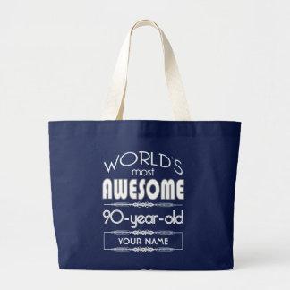 90th Birthday Worlds Best Fabulous Dark Blue Jumbo Tote Bag