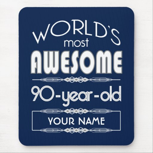 90th Birthday Worlds Best Fabulous Dark Blue Mouse Pad