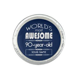 90th Birthday Worlds Best Fabulous Dark Blue Ring