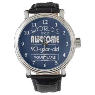 90th Birthday Worlds Best Fabulous Dark Blue Watch
