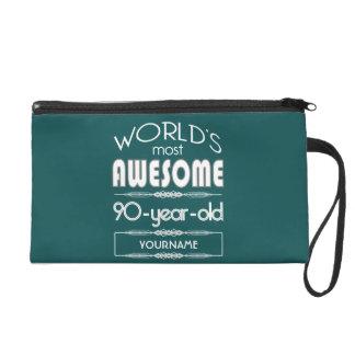 90th Birthday Worlds Best Fabulous Dark Green Fore Wristlet Clutches