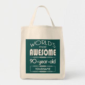 90th Birthday Worlds Best Fabulous Dark Green Fore Bag