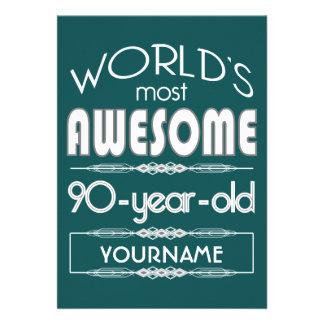 90th Birthday Worlds Best Fabulous Dark Green Fore Invitations