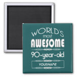 90th Birthday Worlds Best Fabulous Dark Green Fore Refrigerator Magnet