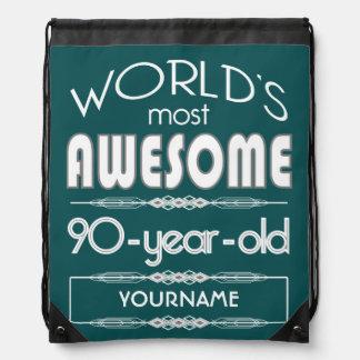 90th Birthday Worlds Best Fabulous Dark Green Fore Drawstring Backpack