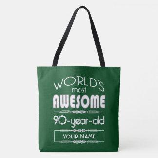 90th Birthday Worlds Best Fabulous Dark Green Tote Bag