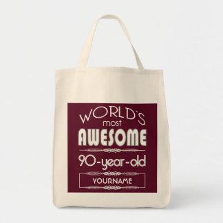 90th Birthday Worlds Best Fabulous Dark Red Bags
