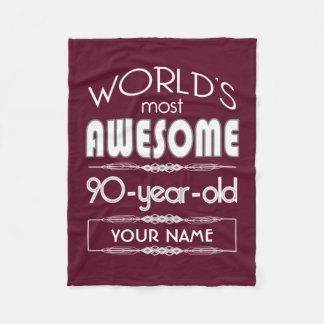 90th Birthday Worlds Best Fabulous Dark Red Maroon Fleece Blanket