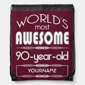 90th Birthday Worlds Best Fabulous Dark Red Drawstring Bag