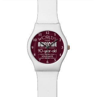 90th Birthday Worlds Best Fabulous Dark Red Watch