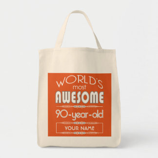 90th Birthday Worlds Best Fabulous Flame Orange Canvas Bags