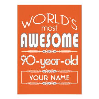 90th Birthday Worlds Best Fabulous Flame Orange Custom Announcements