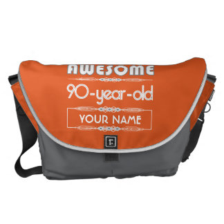90th Birthday Worlds Best Fabulous Flame Orange Courier Bag