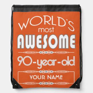 90th Birthday Worlds Best Fabulous Flame Orange Drawstring Bag