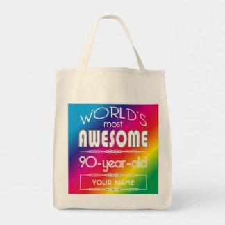 90th Birthday Worlds Best Fabulous Rainbow Canvas Bags