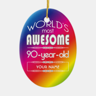 90th Birthday Worlds Best Fabulous Rainbow Christmas Ornament