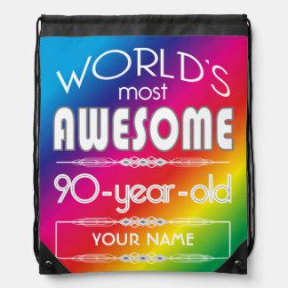 90th Birthday Worlds Best Fabulous Rainbow Drawstring Bag