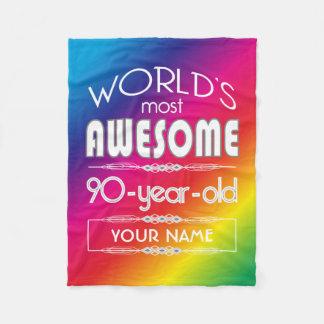 90th Birthday Worlds Best Fabulous Rainbow Fleece Blanket