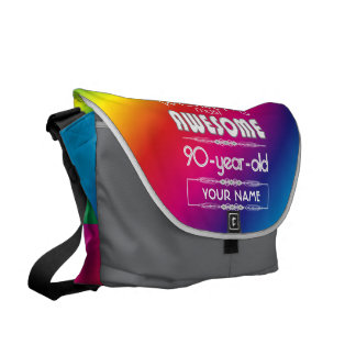 90th Birthday Worlds Best Fabulous Rainbow Courier Bag