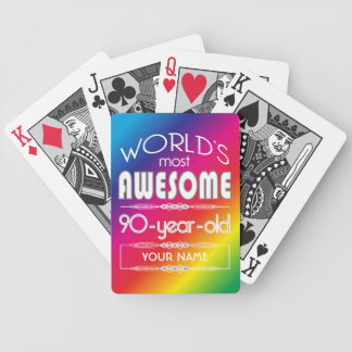 90th Birthday Worlds Best Fabulous Rainbow Playing Cards