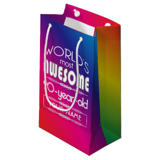 90th Birthday Worlds Best Fabulous Rainbow Small Gift Bag
