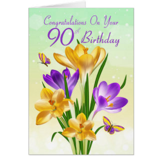 90th Birthday Yellow And Purple Crocus Greeting Card