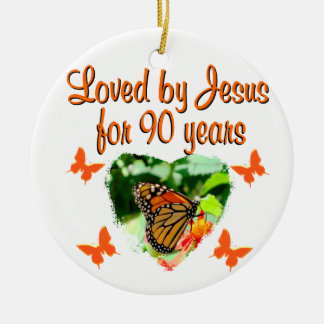 90TH BUTTERFLY BIRTHDAY ROUND CERAMIC DECORATION