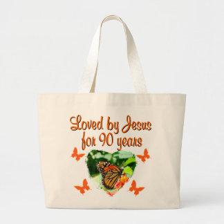 90TH BUTTERFLY BIRTHDAY JUMBO TOTE BAG
