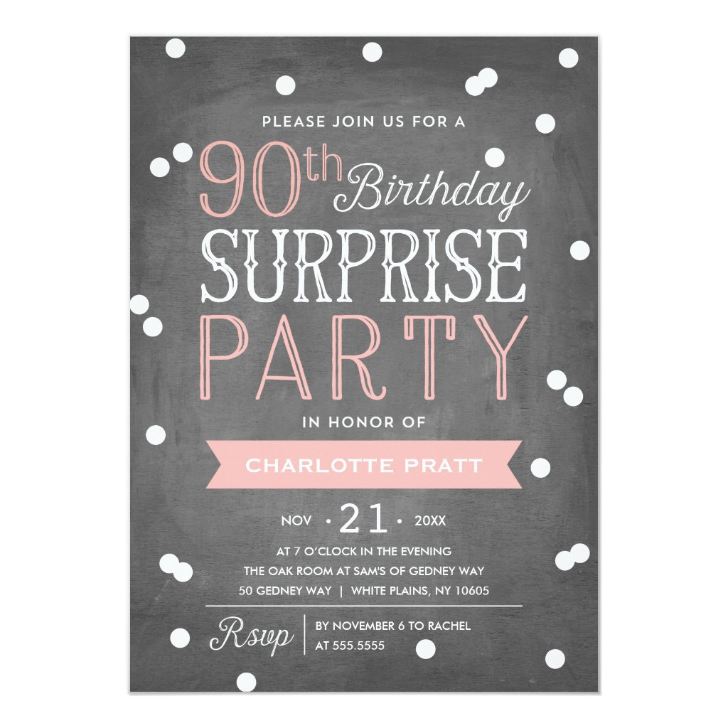 90th Confetti Surprise Party Invitation