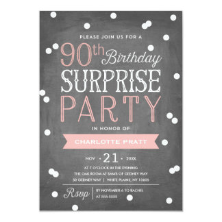 90th Confetti Surprise Party Invitation | Birthday