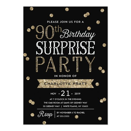 90th Glitter Confetti Surprise Party Invitation