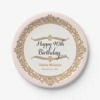 90th Happy Birthday Paper Plate