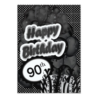 90th Milestone Birthday 13 Cm X 18 Cm Invitation Card