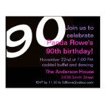 90th Ninetieth Ninety Birthday Party Postcard Invi