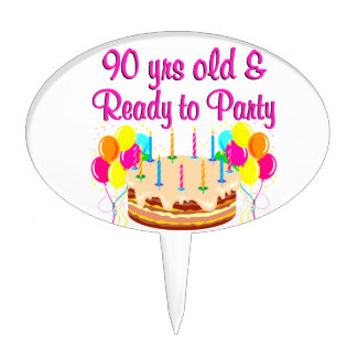 90TH PARTY GIRL CAKE TOPPER