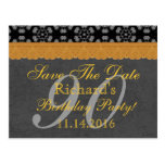90th Save the Date Dark Gray and Gold Lace 005 Postcard