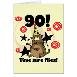 90th Time Flies Birthday Card