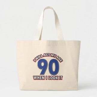 90th year birthday designs bag