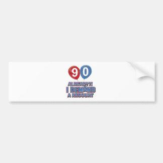 90th year birthday designs bumper stickers