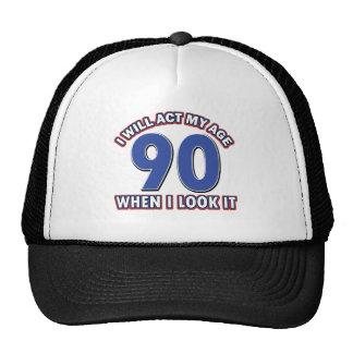 90th year birthday designs cap