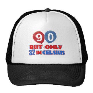 90th year birthday designs trucker hats